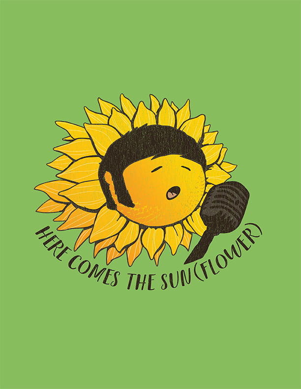 B2B Trade Show T-Shirt Design with Sunflower Singing